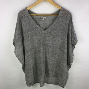 Joie V Neck Dolman Silk Top Blouse Gray Stripes